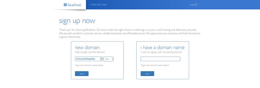 Blog Hosting Sign Up Process on Bluehost