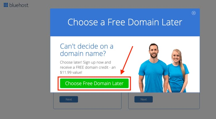 Bluehost Popup Choosing a Domain Name Later
