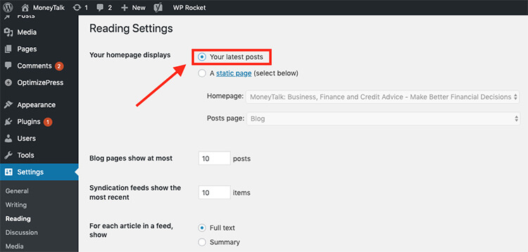 How to Set Your Blog Homepage to Posts