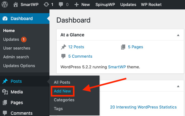 Screenshot of How to Add a New Post to Your Blog
