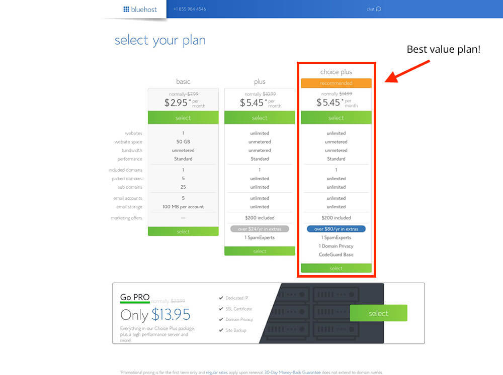 Select Your Plan on Bluehost for Your Blog